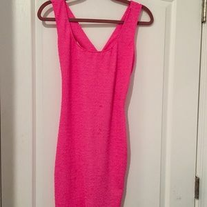 Gorgeous spandex textured neon pink bodycon dress